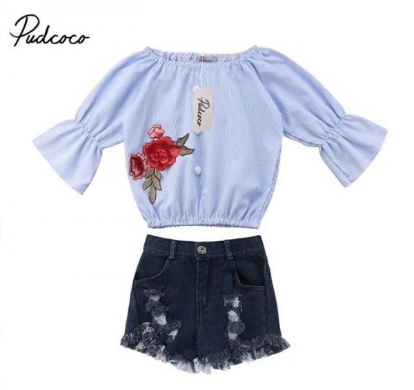 Floral applique Top with Distressed Denim Shorts
