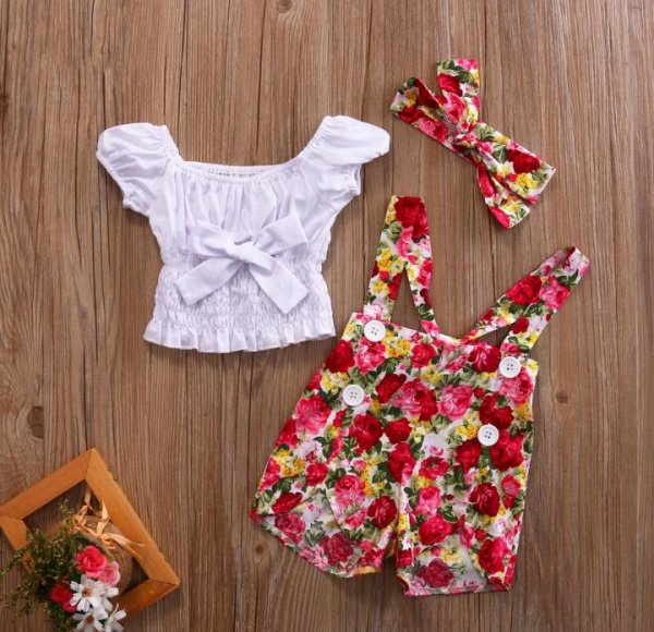 Floral dungaree with Crop Top and Matching Headband