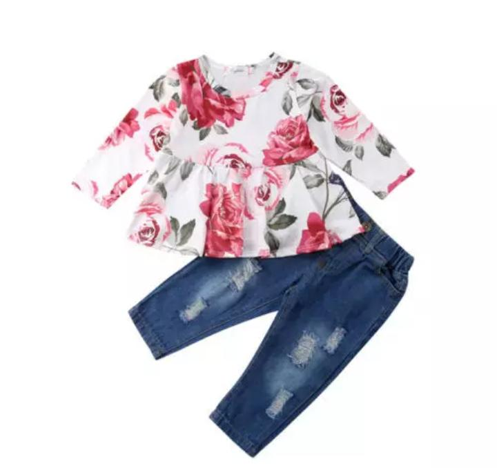 Floral Full Sleeve Top With Denim Pant