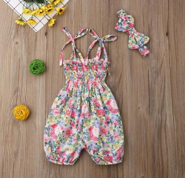 Floral Printed Romper With Headband