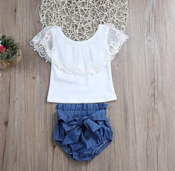 Frill Shoulder White Top & Bottom