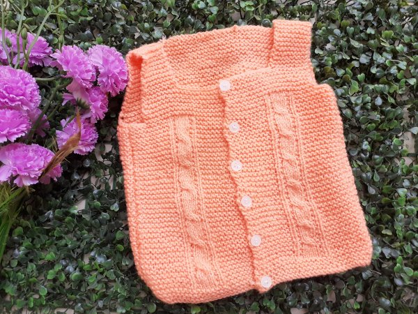 Front Openable Orange Woolen Vest