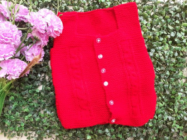 Front Openable Red Woolen Vest