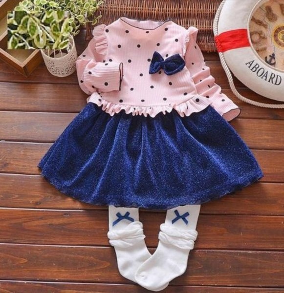 Full Sleeve Pink and Blue Frock