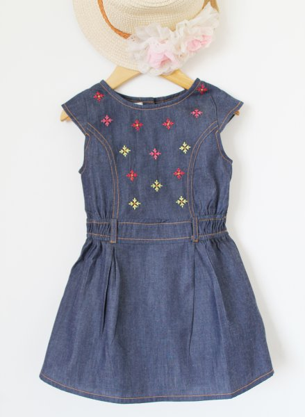 Denim Embroidered Frock