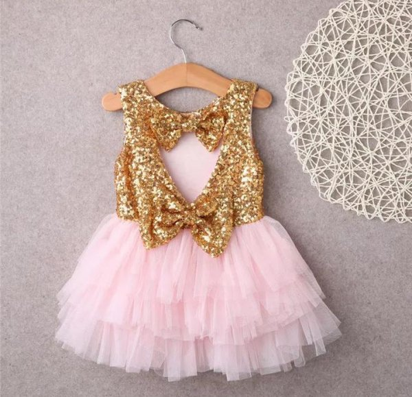 Golden Bow Waterfall Dress