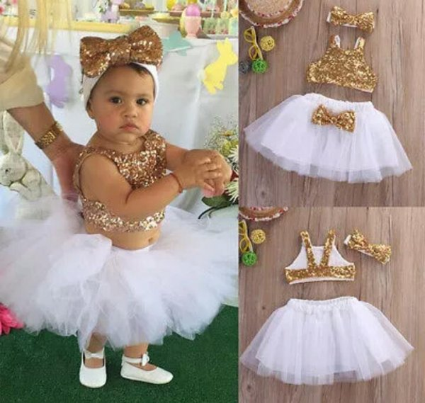 Golden White 3 Pc Sequin Set with Headband
