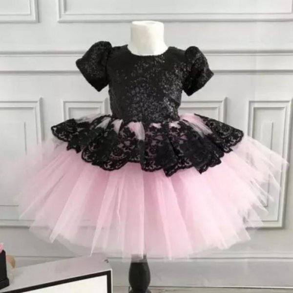 Adorable Dual Color Lace Birthday Dress