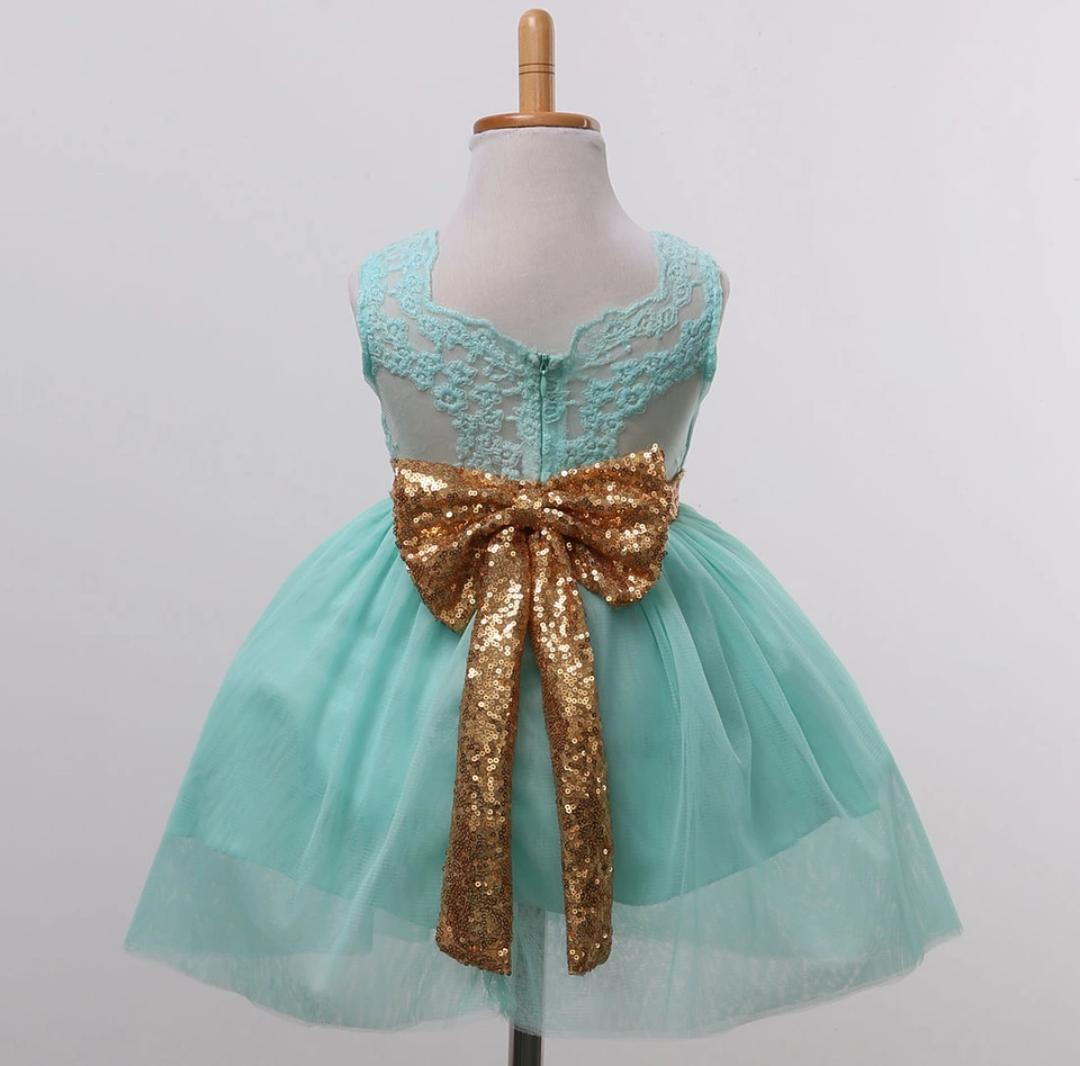 Green Party Frock with Golden Bow