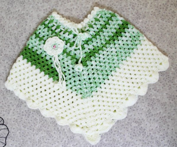 Green Poncho for Girls