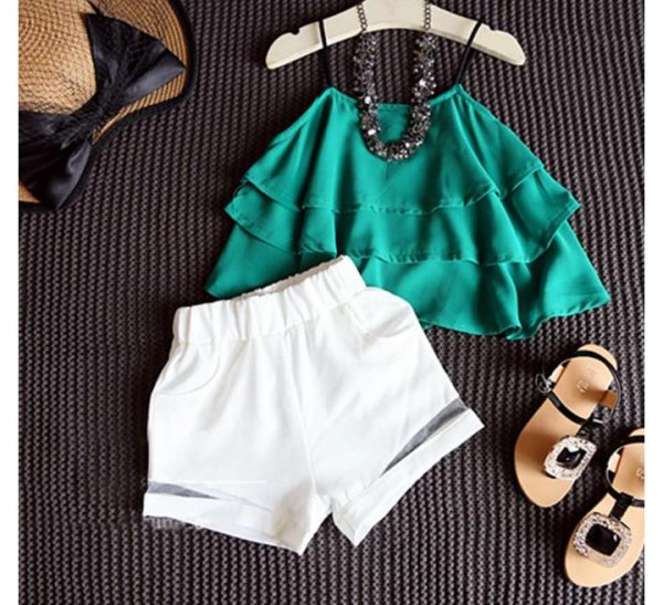 Green Top With White Short
