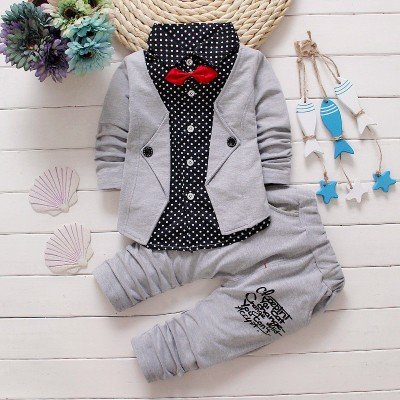 Grey  Attached Blazer and Pant Set