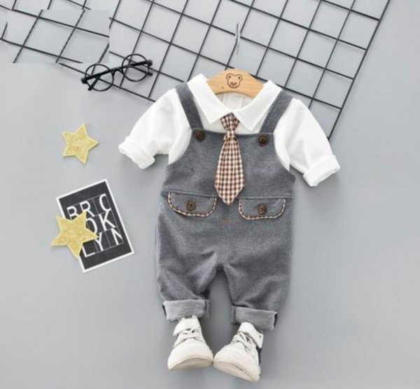 Grey Dungaree Set