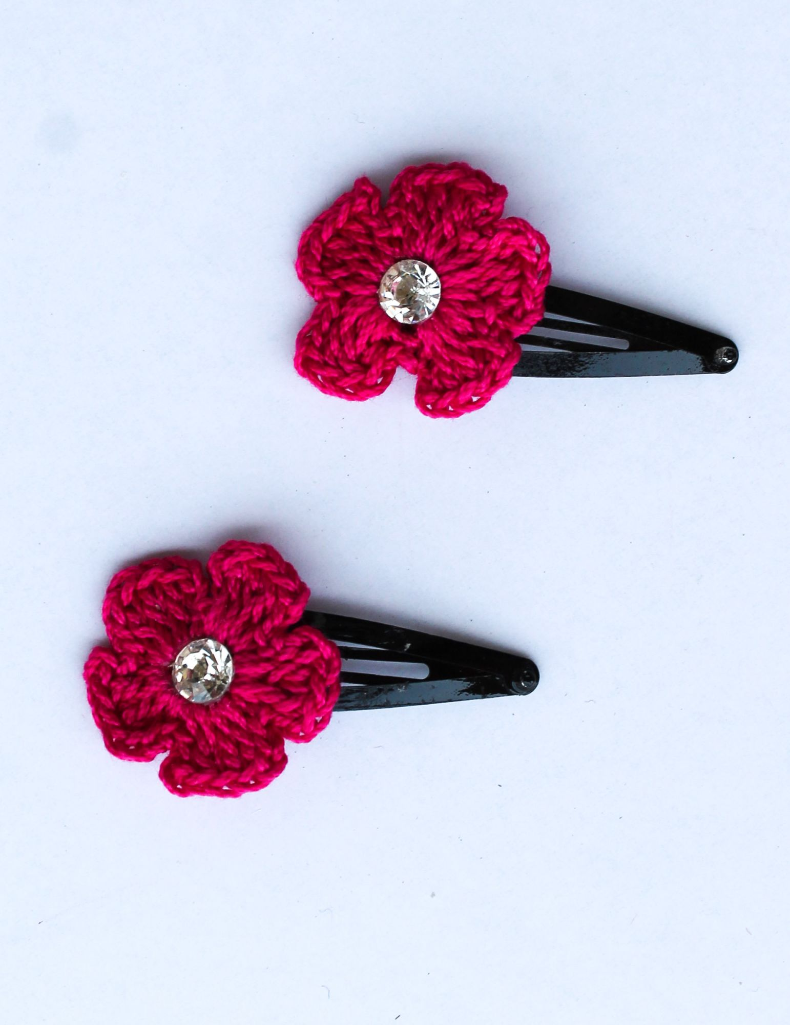 Handmade Crochet Big Stone Tic Tac Hair Pins for girls - Pink | Woonie