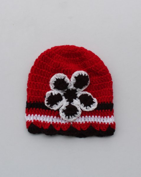 Handmade Crochet Brown Flower Cap for Kids - Red | Woonie