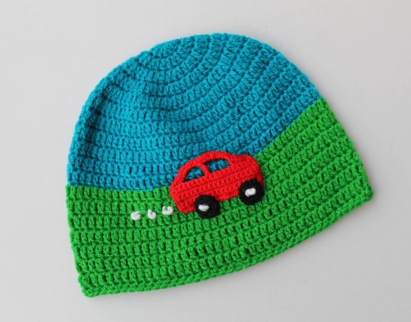 Handmade Crochet Car Pattern Cap for Kids - Blue Green | Woonie
