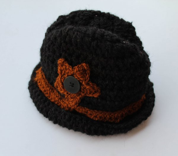 Handmade Crochet Cowboy Hat for Kids -  Black | Woonie