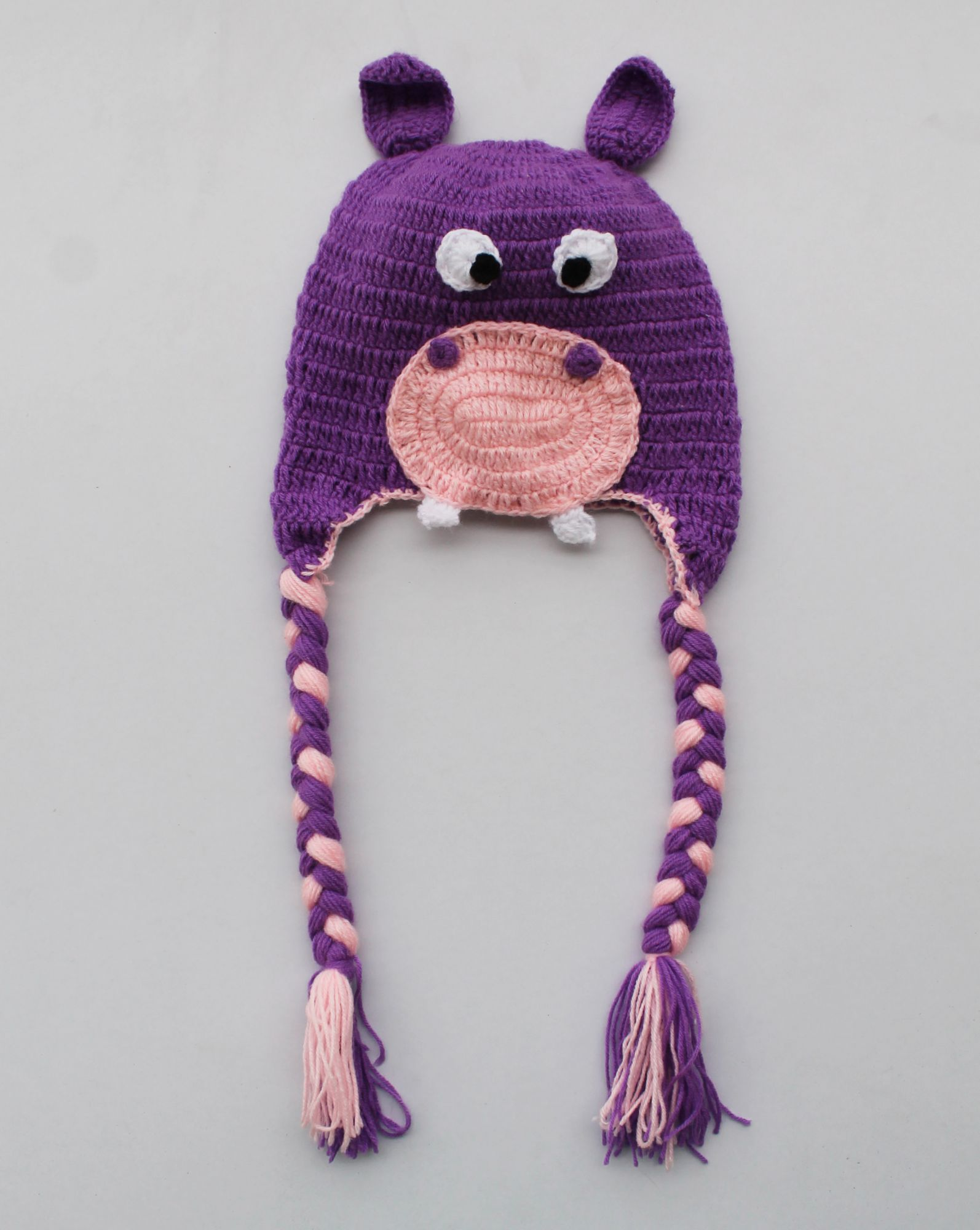 Handmade Crochet Hippo Pattern Winter Cap for Kids - Purple | Woonie