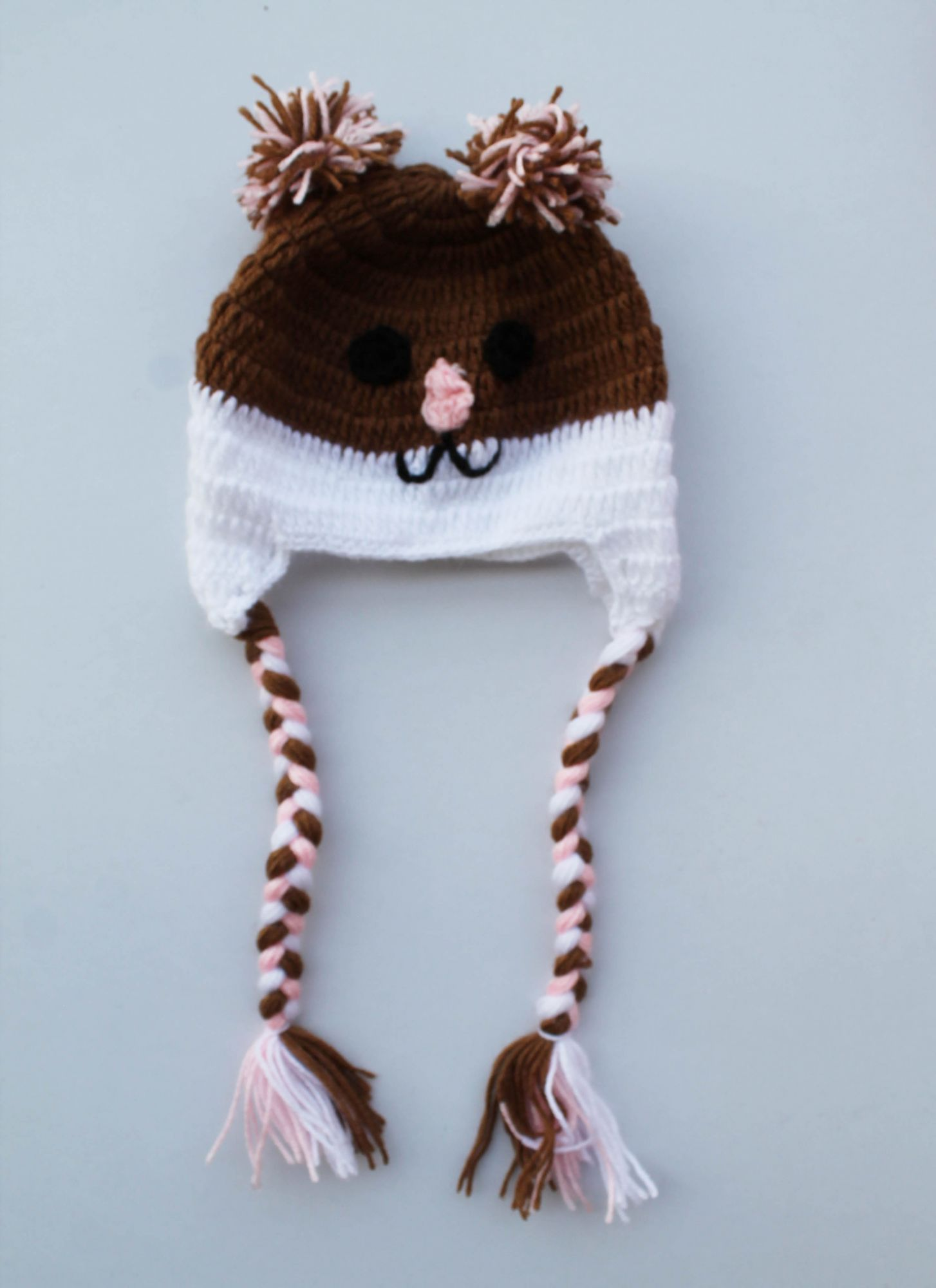 Handmade Crochet Mouse Pattern Cap for Kids -  Brown | Woonie