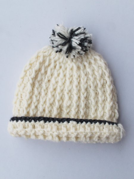 Handmade Crochet Off-white Beanie for Kids -  Off-white | Woonie