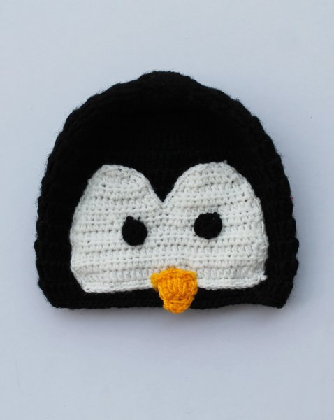 Handmade Crochet Penguin Pattern Cap for Kids - Black| Woonie