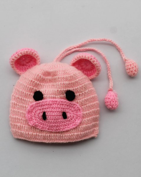 Handmade Crochet Pig Pattern Winter Cap for Newborn - Pink| Woonie