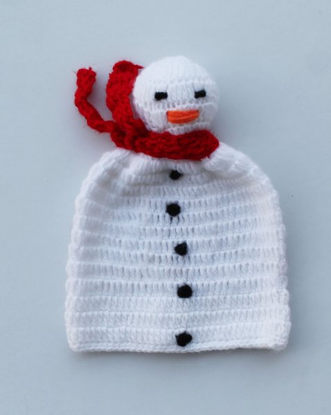 Handmade Crochet Snowman Pattern Cap for Kids - White | Woonie