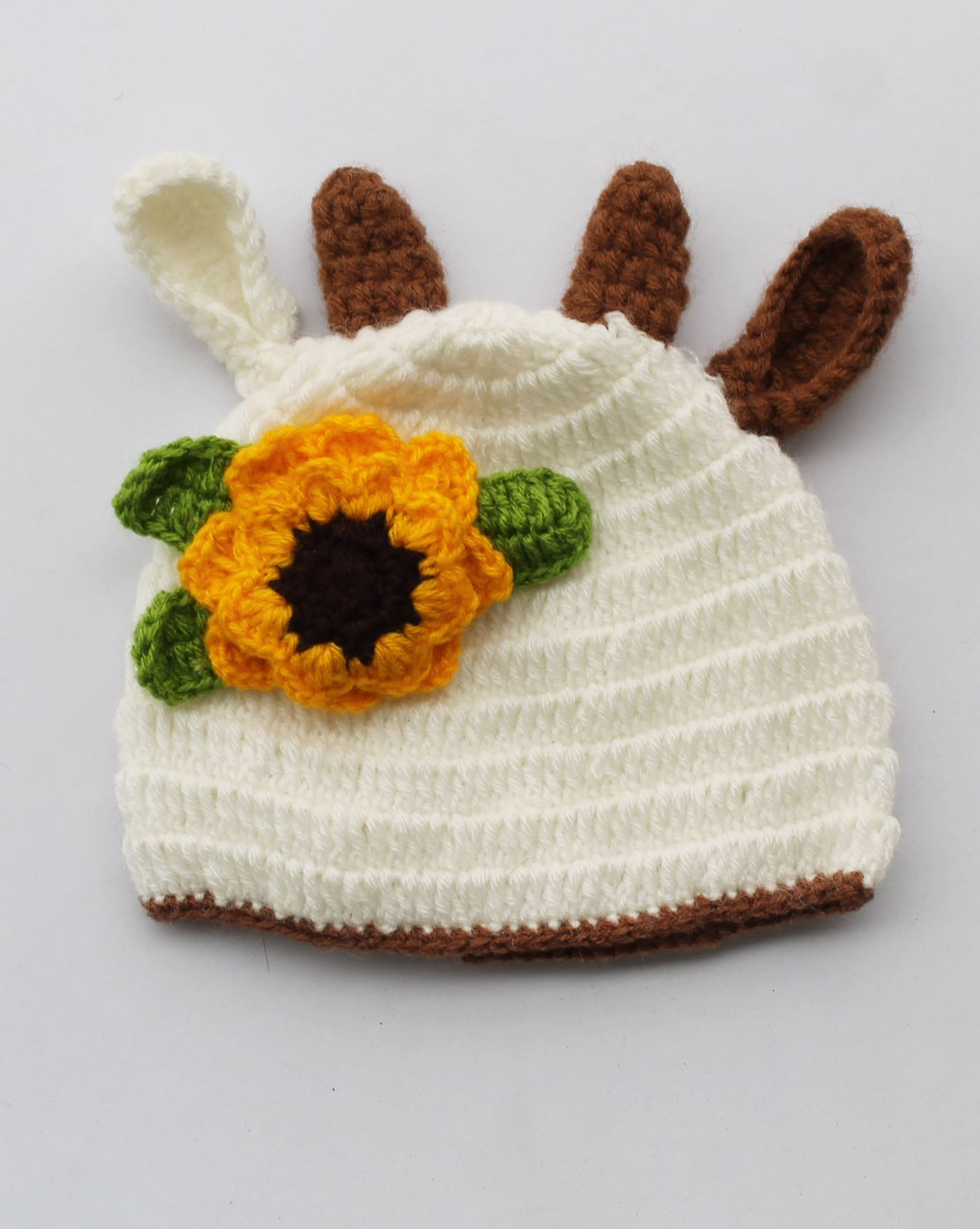 Handmade Crochet Sunflower Pattern Cap for Kids - Off-white | Woonie