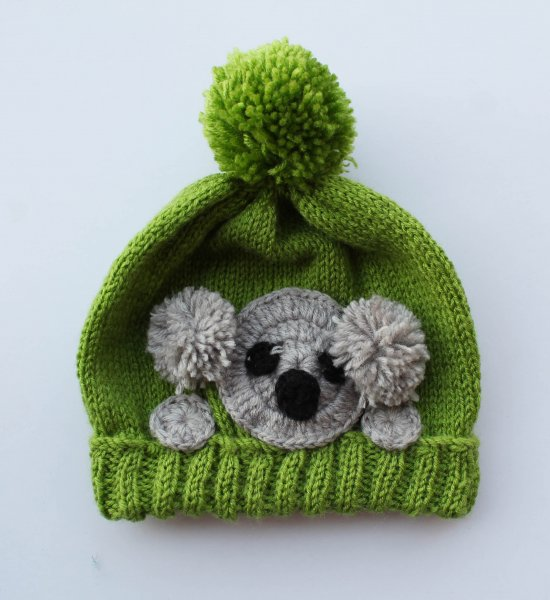Handmade Knitted Bunny Pattern Cap for Kids - Green| Woonie