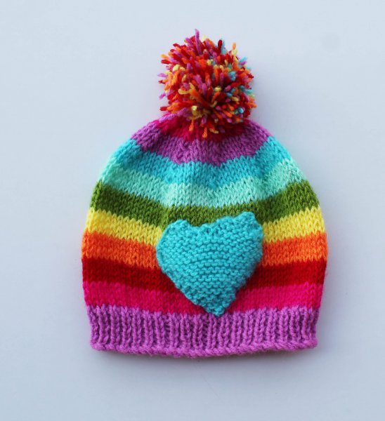 Handmade Knitted Heart Pattern Cap for Kids - Multicolour | Woonie
