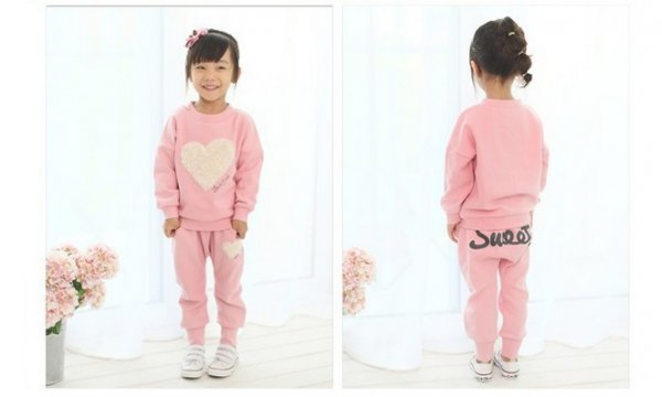 Heart Pattern Pink Track Suit