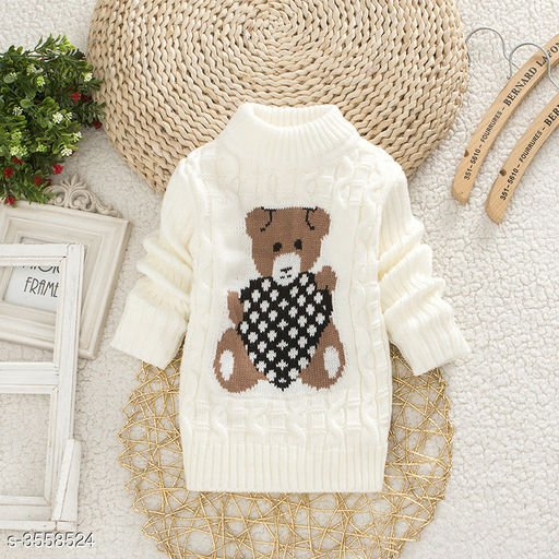 Cream Bear Sweater for Kids