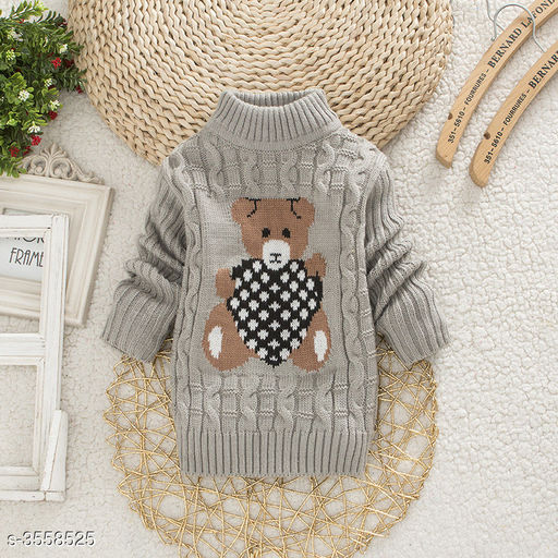 Grey Bear Sweater for Kids