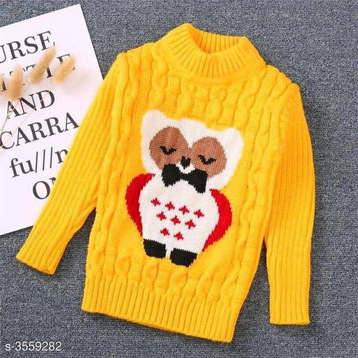 Yellow Owl Sweater for Kids
