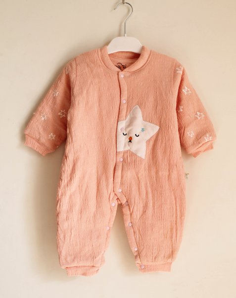 Peach Quilted Jumpsuit for Kids