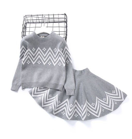 Grey Top and Skirt Set for Girls