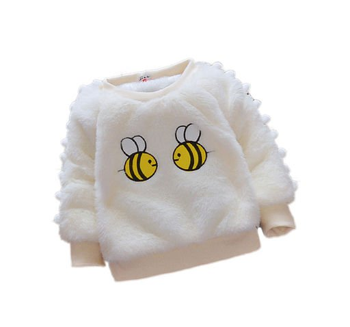 Bee Applique White Fur Sweater for Kids