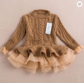 Brown Winterwear Frock for Girls