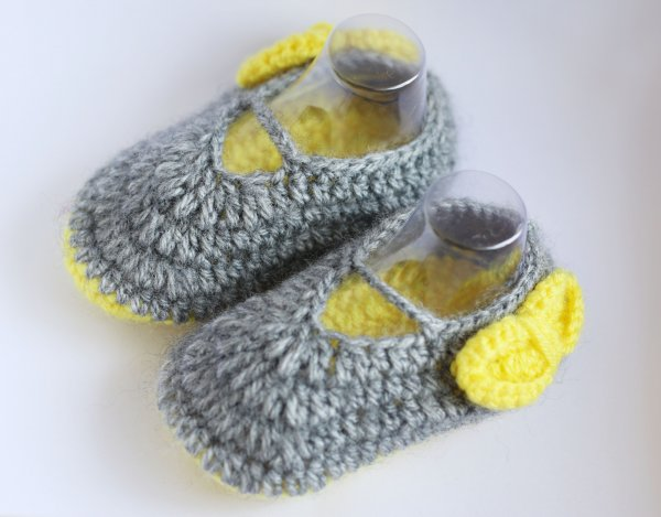 Woonie Handmade Yellow Bow Booties