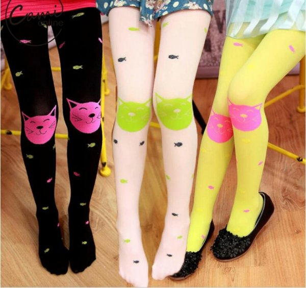 Kitty Pattern Nylon Stockings for Girls