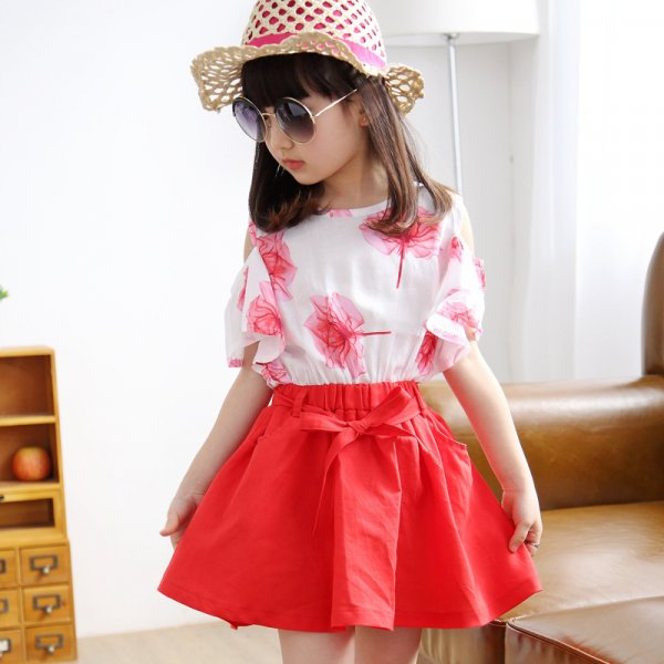 Leaf Print Top with Mini Skirt (Red)