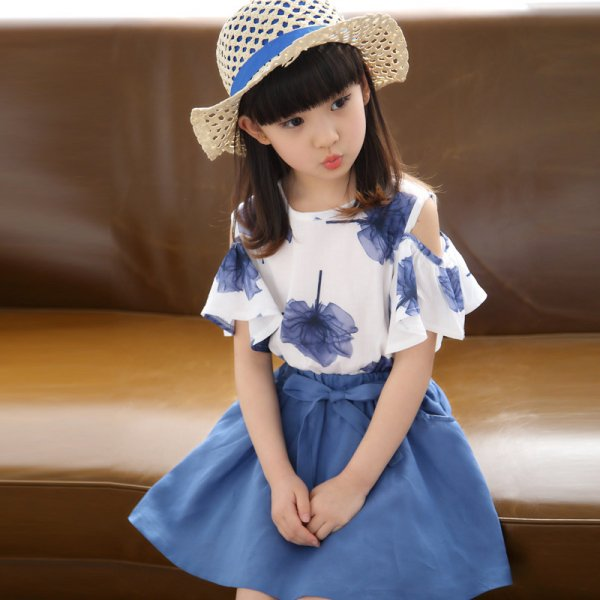 Leaf PrintTop with Mini Skirt (Blue)