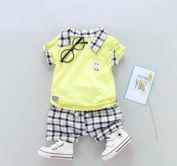 Lemon Top With Checked Short