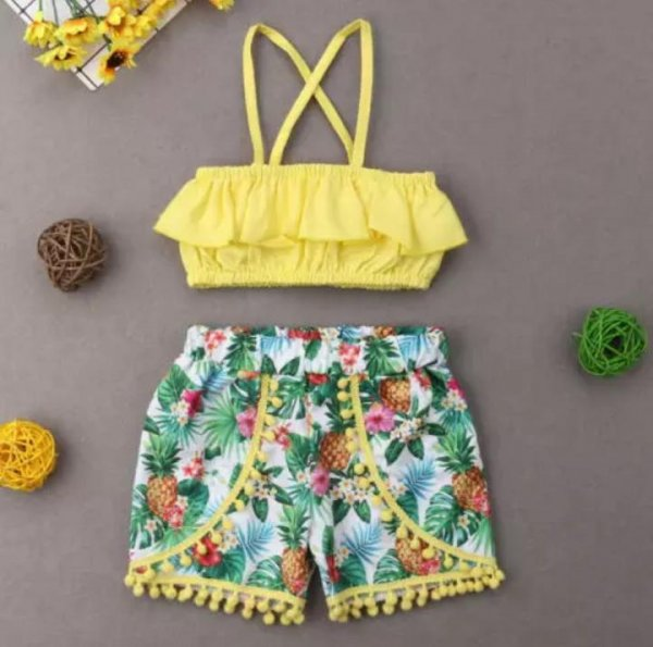 Lemon Tube Top With Printed Shorts