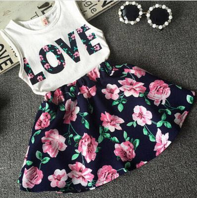 Love Print Skirt Top Set