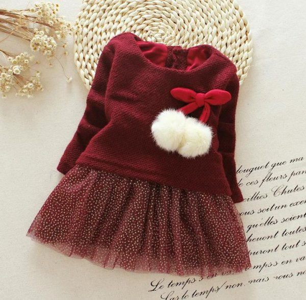 Maroon Infant Frock