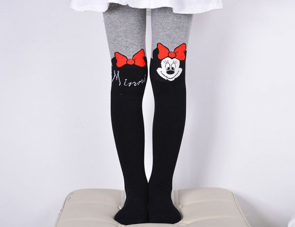 Mini Mouse Pattern Woolen Stockings for Girls