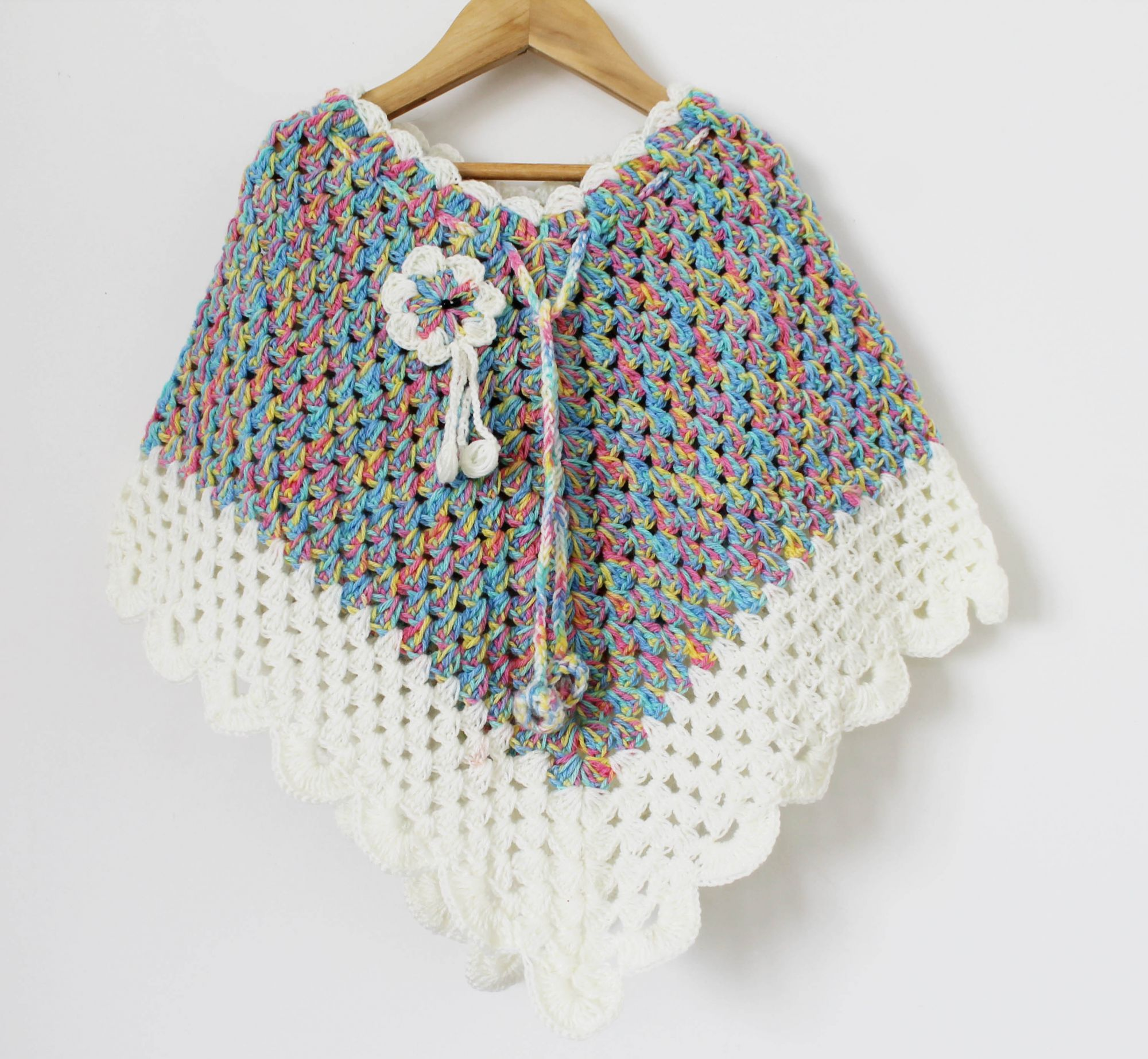 Multicolored Handmade Poncho for Girls