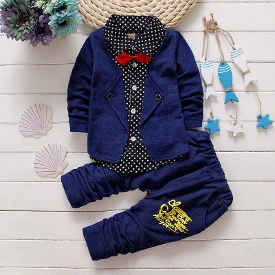 Navy  Attached Blazer and Pant Set