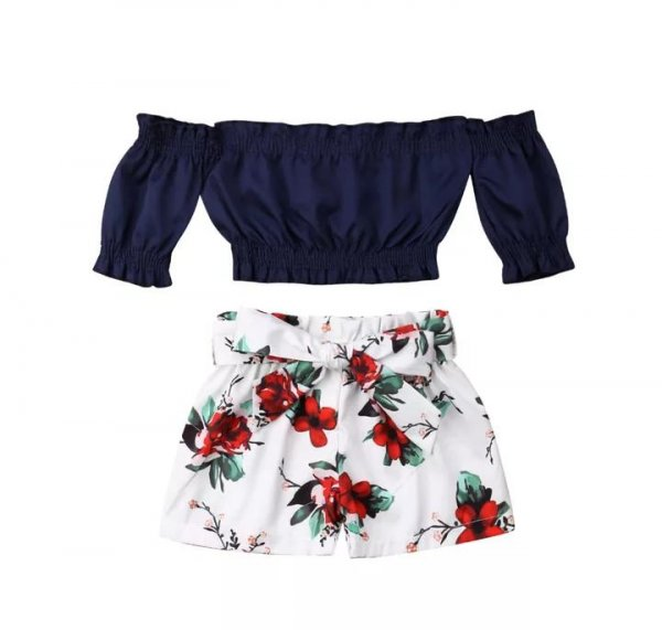 Navy Crop Top With Floral Bottom